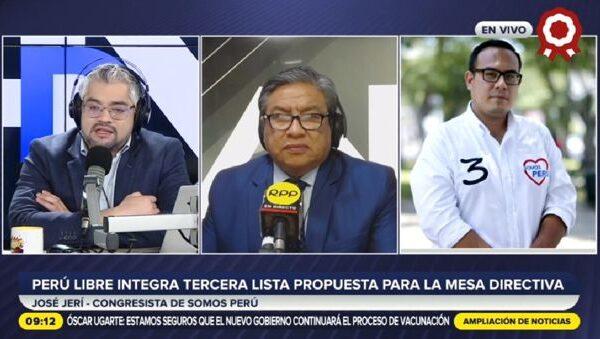 «Esta no es una lista del partido de gobierno»: José Jeri encabeza la tercera lista para Mesa Directiva